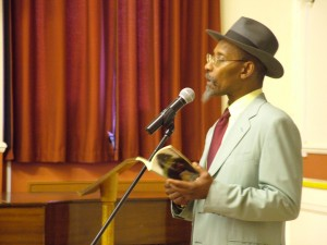 Poet Linton Kwesi Johnson speaking to 6th form on topic of identity